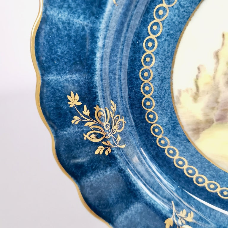 Early 20th Century Royal Worcester Dessert Service, Powder Blue with Landscapes G. Johnson, 1912 For Sale