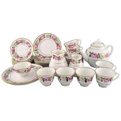 Royal Worcester, England, Complete Tea Service for Seven People in Porcelain