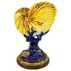 Royal Worcester English Majolica Palissy Nautilus Shell & Coral Pedestal Vase