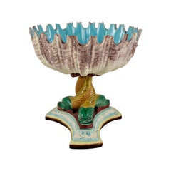 Royal Worcester English Majolica Palissy Open Shell and Dolphin Pedestal Compote