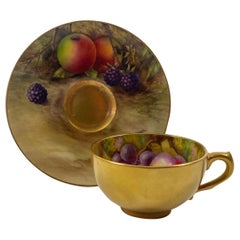 Royal Worcester Fruit Cup and Saucer, Dated 1918