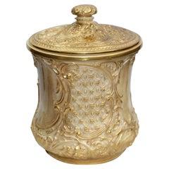 Royal Worcester Gilded Blush Biscuilt Jar & Cover, 1901