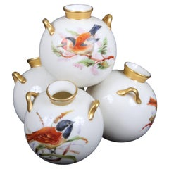 Royal Worcester Hand-Painted 4-Well Ornithological Vase