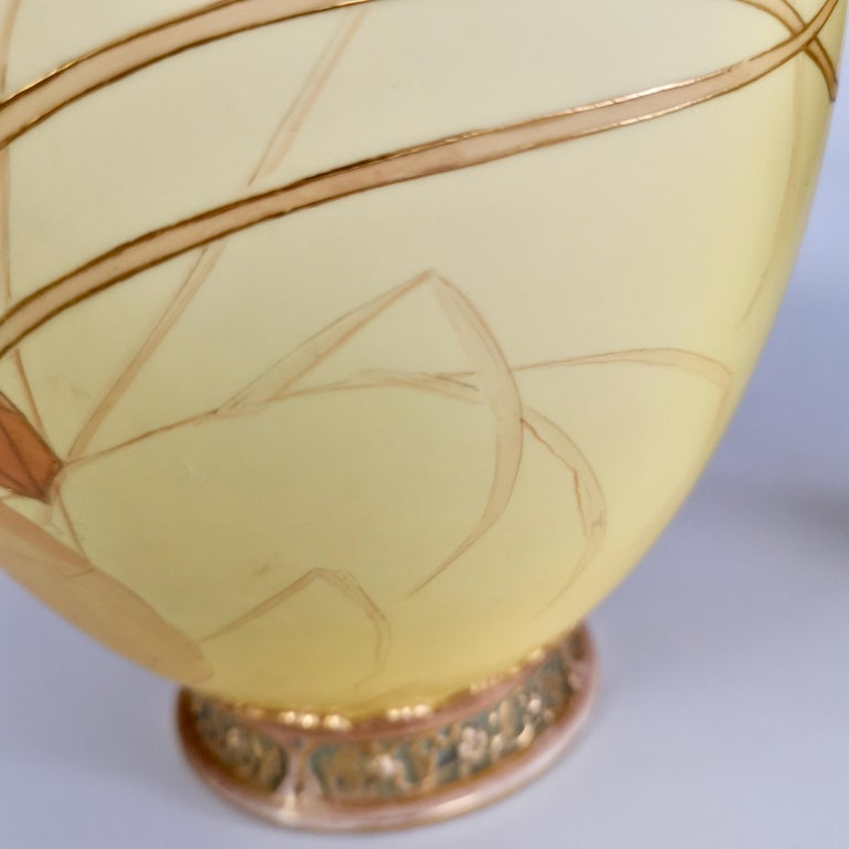 Royal Worcester Pair of Persian Porcelain Vases, Blush Ivory Japanese Lotus 1890 For Sale 8
