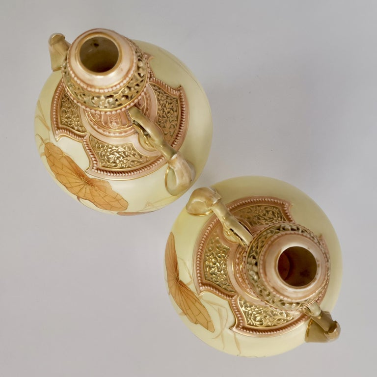 Royal Worcester Pair of Persian Porcelain Vases, Blush Ivory Japanese Lotus 1890 For Sale 10