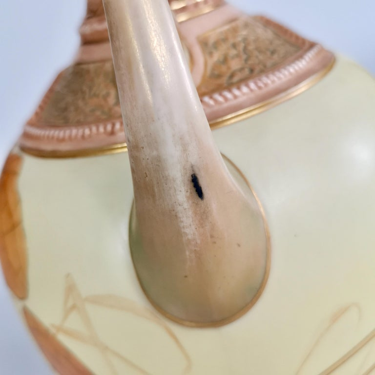 Royal Worcester Pair of Persian Porcelain Vases, Blush Ivory Japanese Lotus 1890 For Sale 12