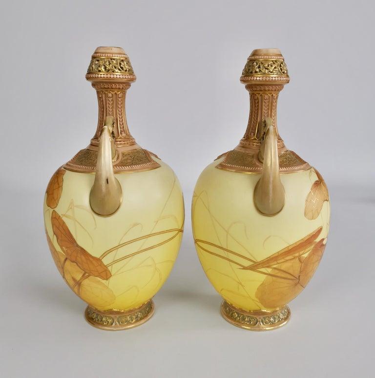 English Royal Worcester Pair of Persian Porcelain Vases, Blush Ivory Japanese Lotus 1890 For Sale