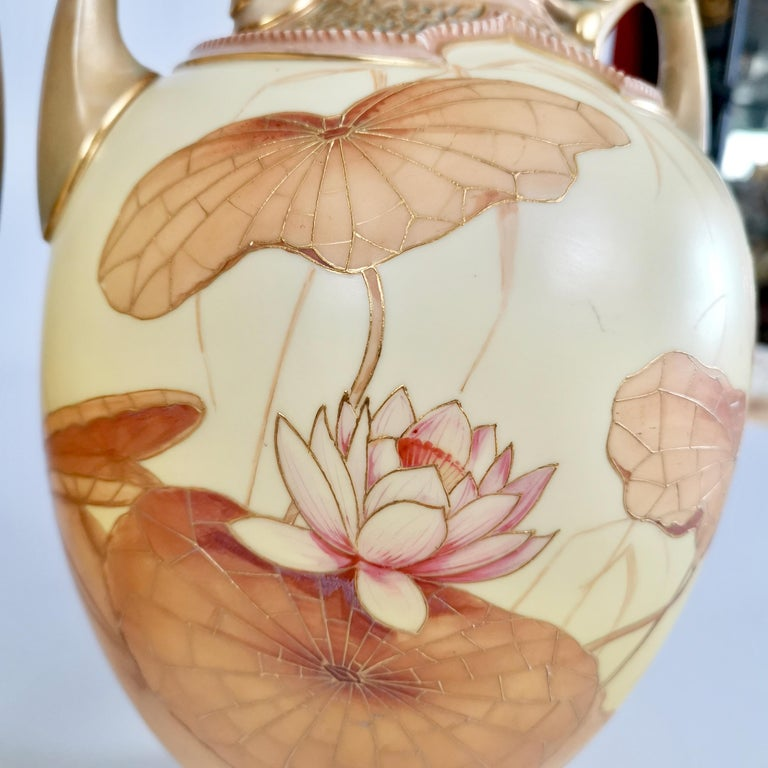 Late 19th Century Royal Worcester Pair of Persian Porcelain Vases, Blush Ivory Japanese Lotus 1890 For Sale