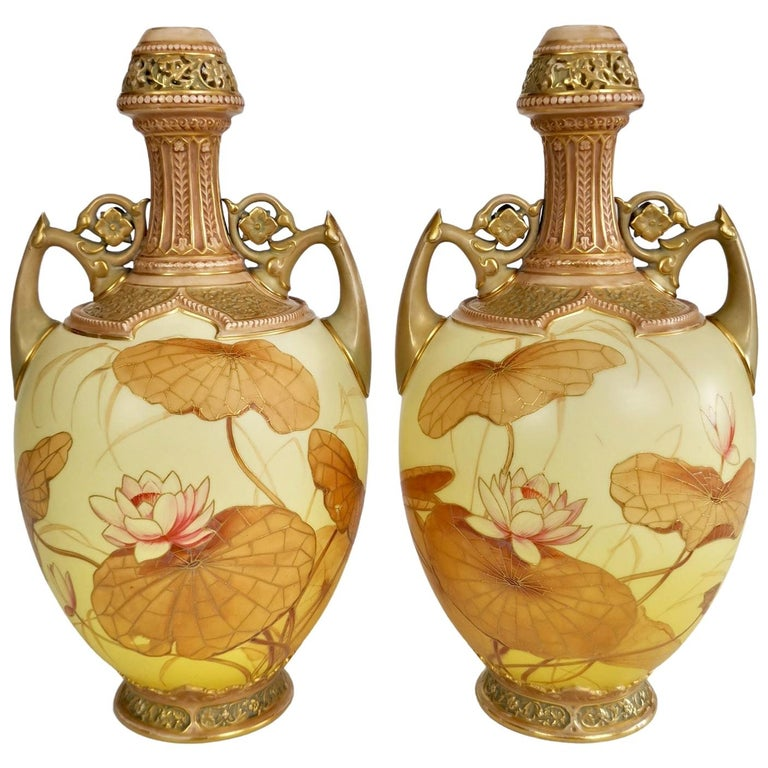 Royal Worcester Pair of Persian Porcelain Vases, Blush Ivory Japanese Lotus 1890 For Sale