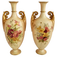 Royal Worcester Pair of Porcelain Vases, Blush Ivory, Flowers, Edwardian, 1907
