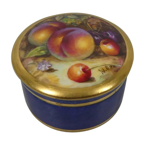Royal Worcester Pill Box, Fruit Painted, by William Bee, Dated 1924