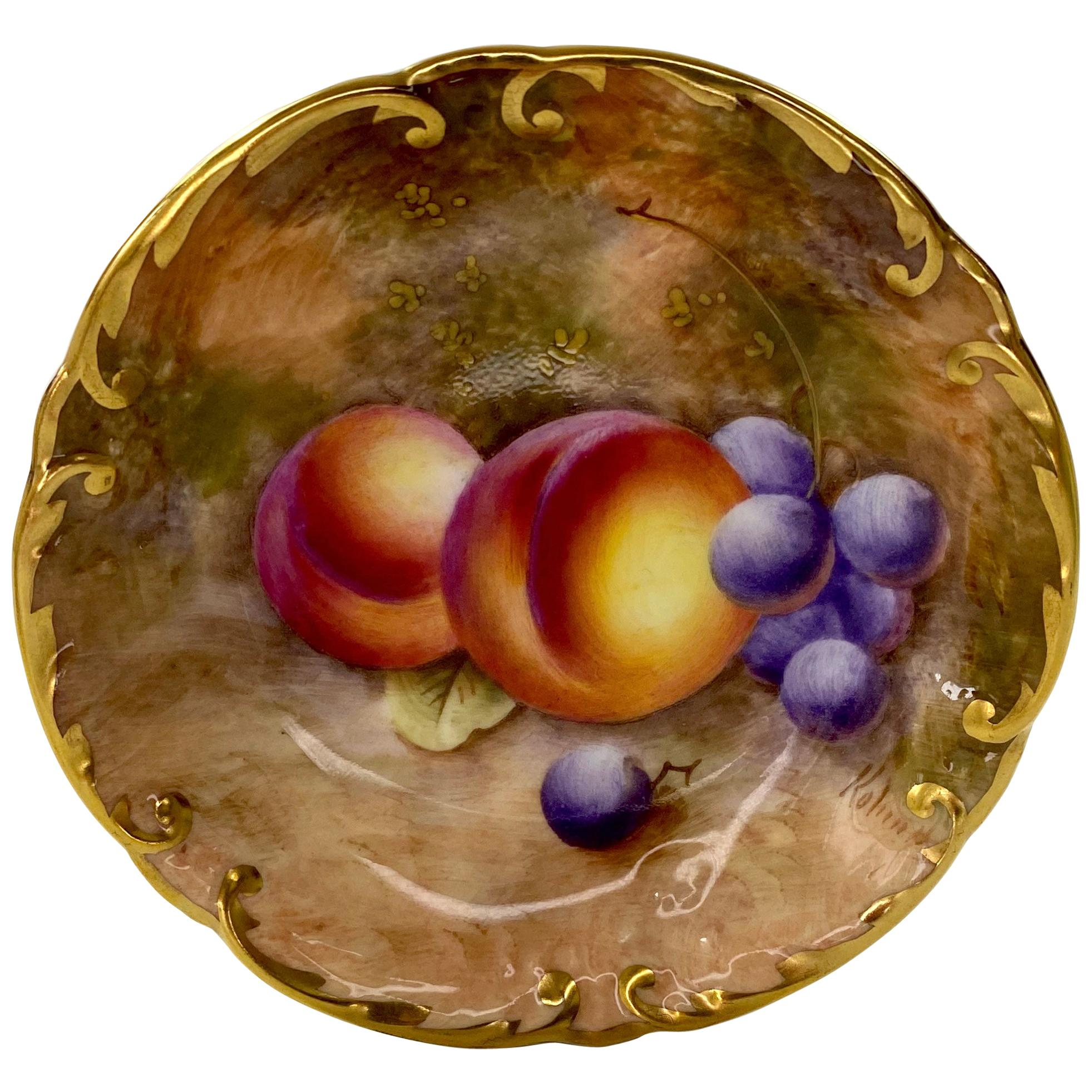 Royal Worcester Porcelain Fruit Pin Tray, William Roberts, d. 1952