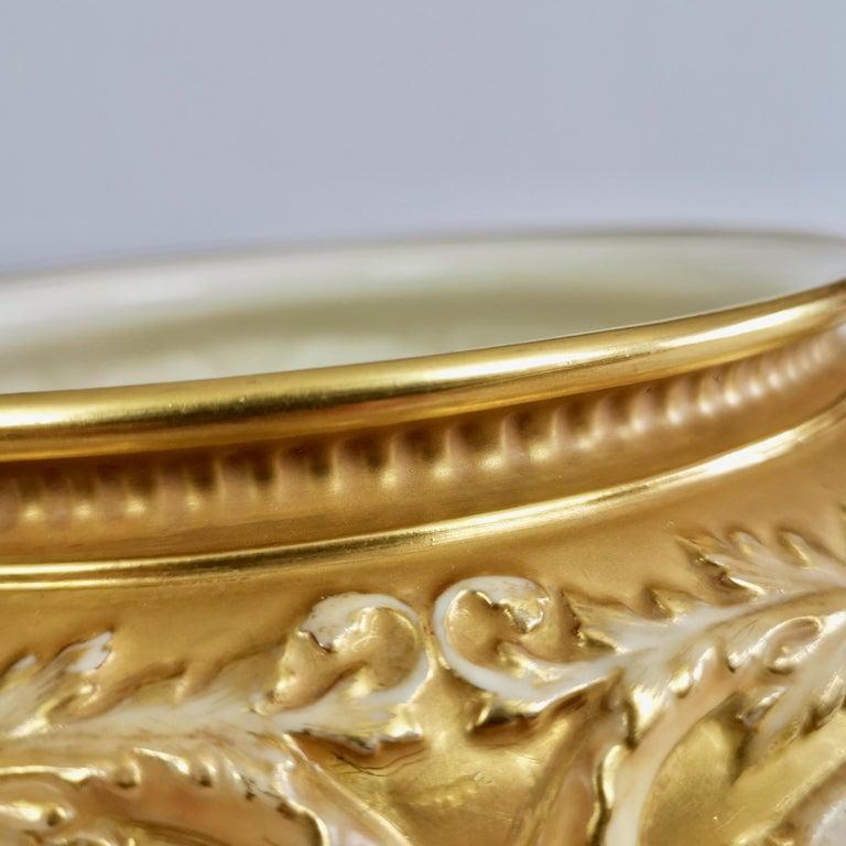 Royal Worcester Porcelain Jardiniere, Gilt, Blush Ivory and Masks, 1892-1920 For Sale 3