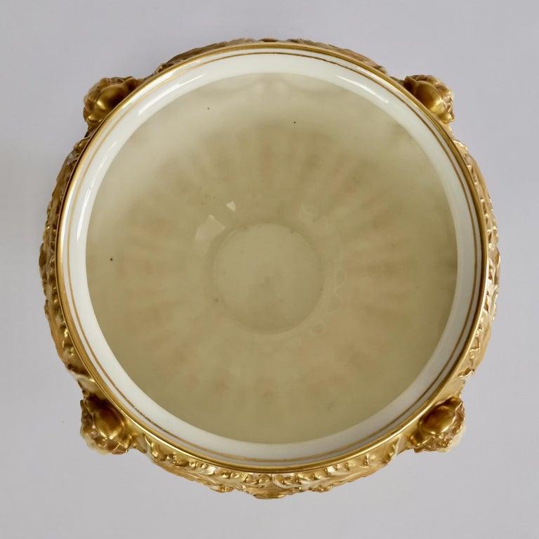 Royal Worcester Porcelain Jardiniere, Gilt, Blush Ivory and Masks, 1892-1920 For Sale 6