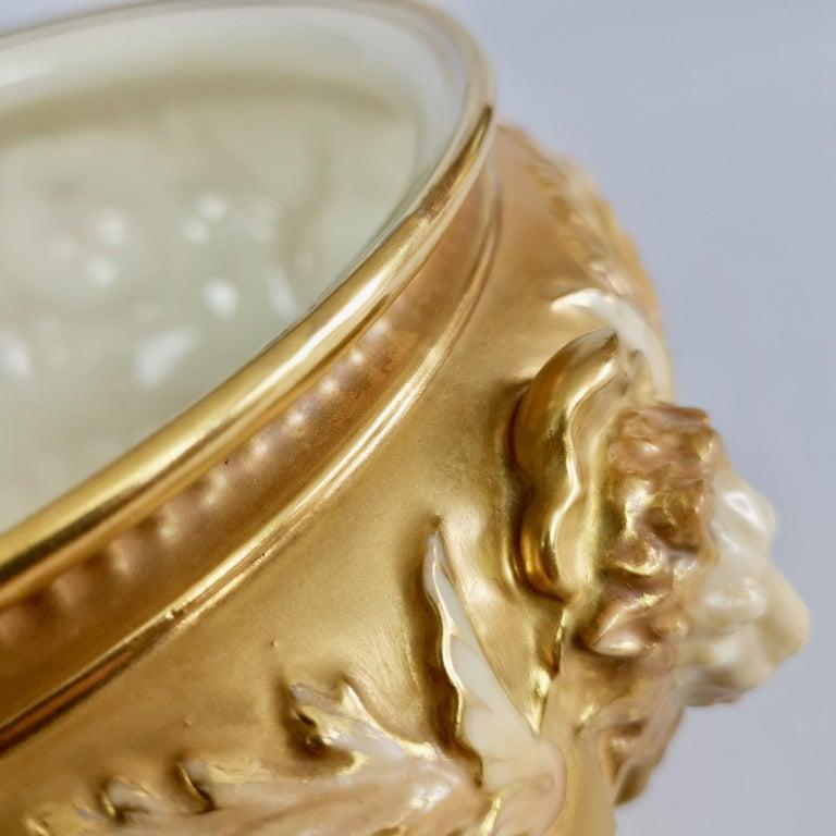 Royal Worcester Porcelain Jardiniere, Gilt, Blush Ivory and Masks, 1892-1920 For Sale 9