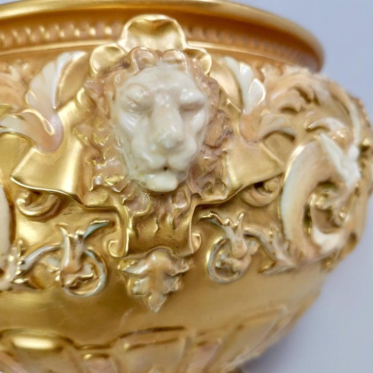 Art Nouveau Royal Worcester Porcelain Jardiniere, Gilt, Blush Ivory and Masks, 1892-1920 For Sale