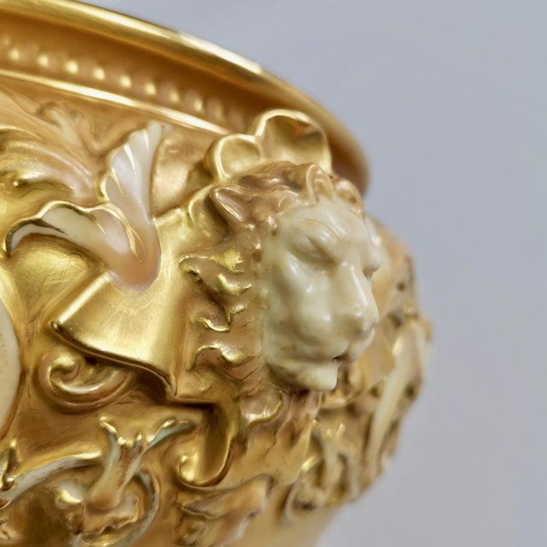 English Royal Worcester Porcelain Jardiniere, Gilt, Blush Ivory and Masks, 1892-1920 For Sale