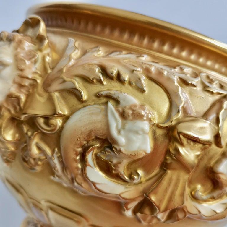 19th Century Royal Worcester Porcelain Jardiniere, Gilt, Blush Ivory and Masks, 1892-1920 For Sale