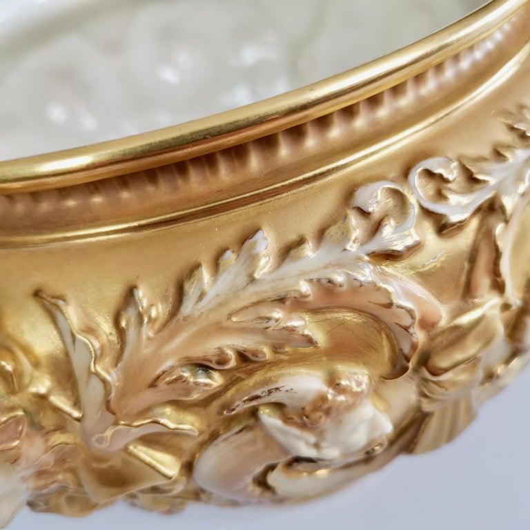 Royal Worcester Porcelain Jardiniere, Gilt, Blush Ivory and Masks, 1892-1920 For Sale 2