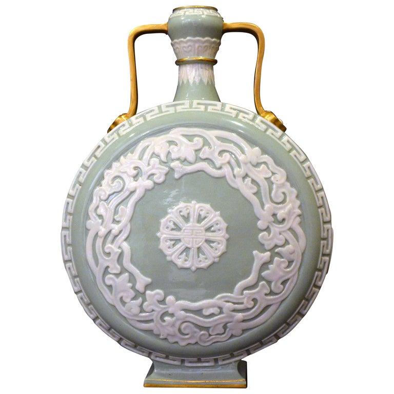 Royal Worcester Porcelain Moon Flask, circa 1880 For Sale