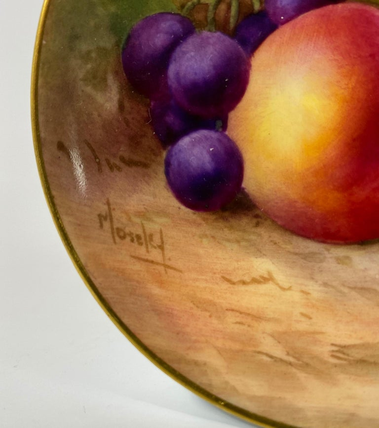 English Royal Worcester Porcelain Pin Dish, Fruit, George Moseley, Dated 1936 For Sale