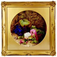 Royal Worcester Porcelain Plaque, Flowers and Fruits by Copson, 1880