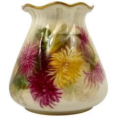 Royal Worcester Porcelain Vase, Chrysanthemum, Dated 1899