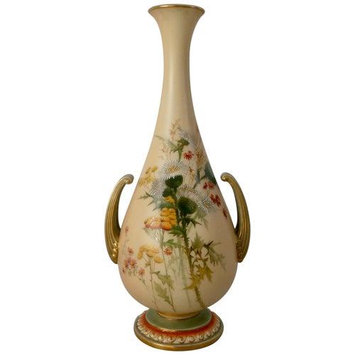 Royal Worcester Porcelain Vase, Thistle Decoration, Dated 1901