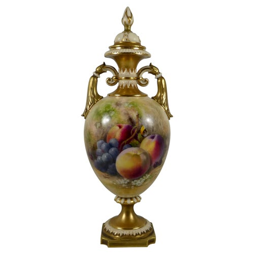 Royal Worcester Porcelain Vase, Fruit Painted by William Ricketts, circa 1915