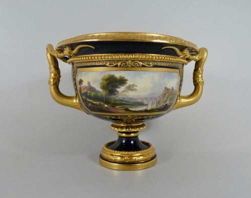 Royal Worcester porcelain 'Warwick Vase', painted by Harry Davis, dated 1925.