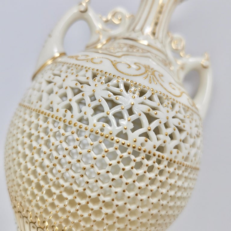 Royal Worcester Small Persian Porcelain Vase, Reticulated George Owen, 1917 For Sale 6