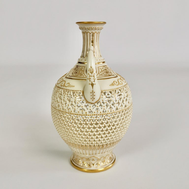 English Royal Worcester Small Persian Porcelain Vase, Reticulated George Owen, 1917 For Sale