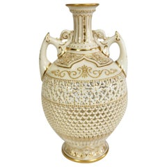 Royal Worcester Small Persian Porcelain Vase, Reticulated George Owen, 1917