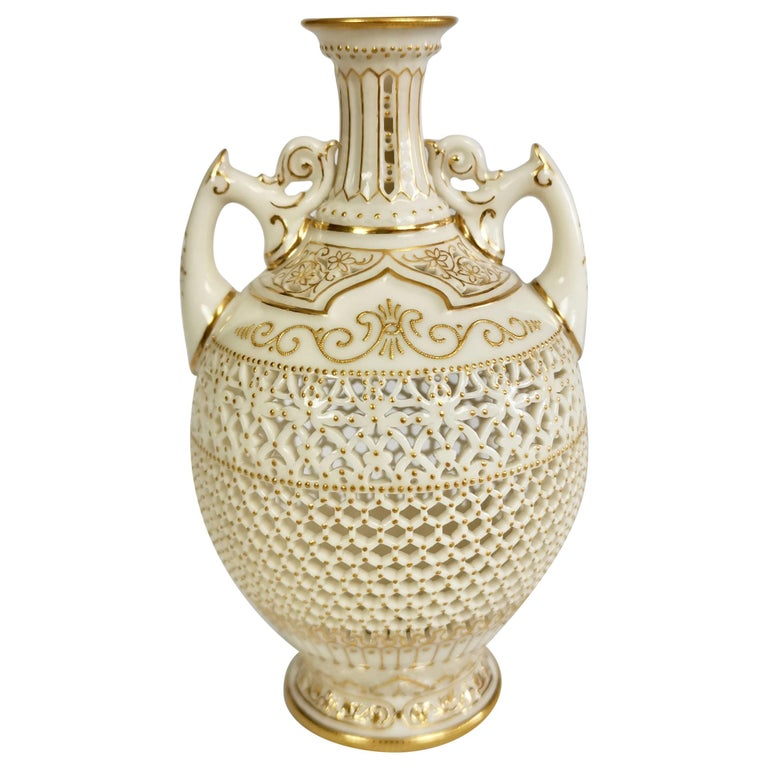 Royal Worcester Small Persian Porcelain Vase, Reticulated George Owen, 1917 For Sale