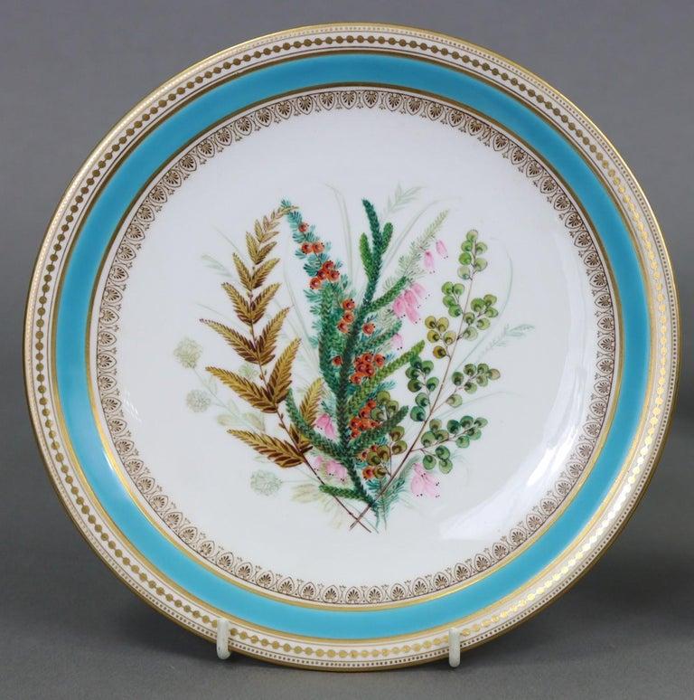 British Royal Worcester Turquoise 9 Piece Part Dessert Service For Sale