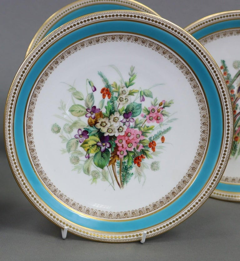 Royal Worcester Turquoise 9 Piece Part Dessert Service In Excellent Condition For Sale In London, GB