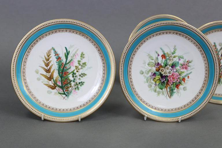 19th Century Royal Worcester Turquoise 9 Piece Part Dessert Service For Sale