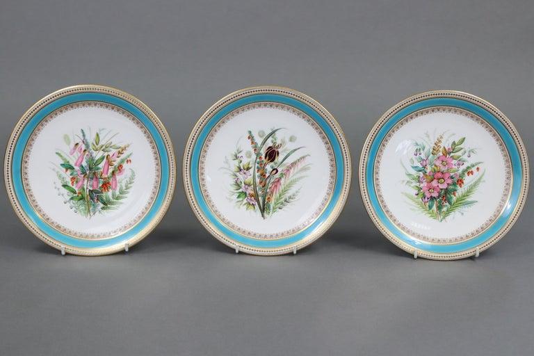 Porcelain Royal Worcester Turquoise 9 Piece Part Dessert Service For Sale