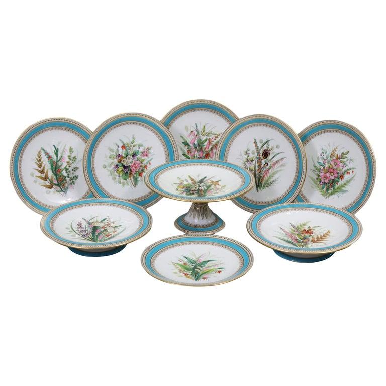 Royal Worcester Turquoise 9 Piece Part Dessert Service For Sale