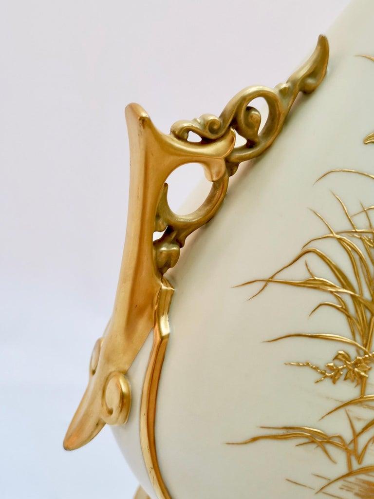 Royal Worcester Vase, Gilt Stork by Thomas Morton, Persian Shape, Victorian 1889 For Sale 3