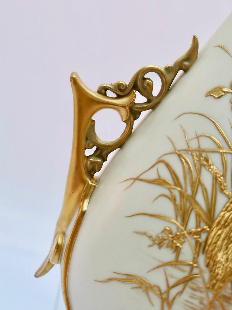 Royal Worcester Vase, Gilt Stork by Thomas Morton, Persian Shape, Victorian 1889 For Sale 4