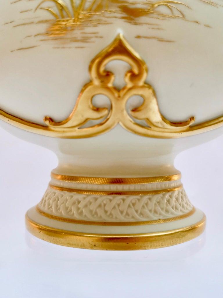 Royal Worcester Vase, Gilt Stork by Thomas Morton, Persian Shape, Victorian 1889 For Sale 5