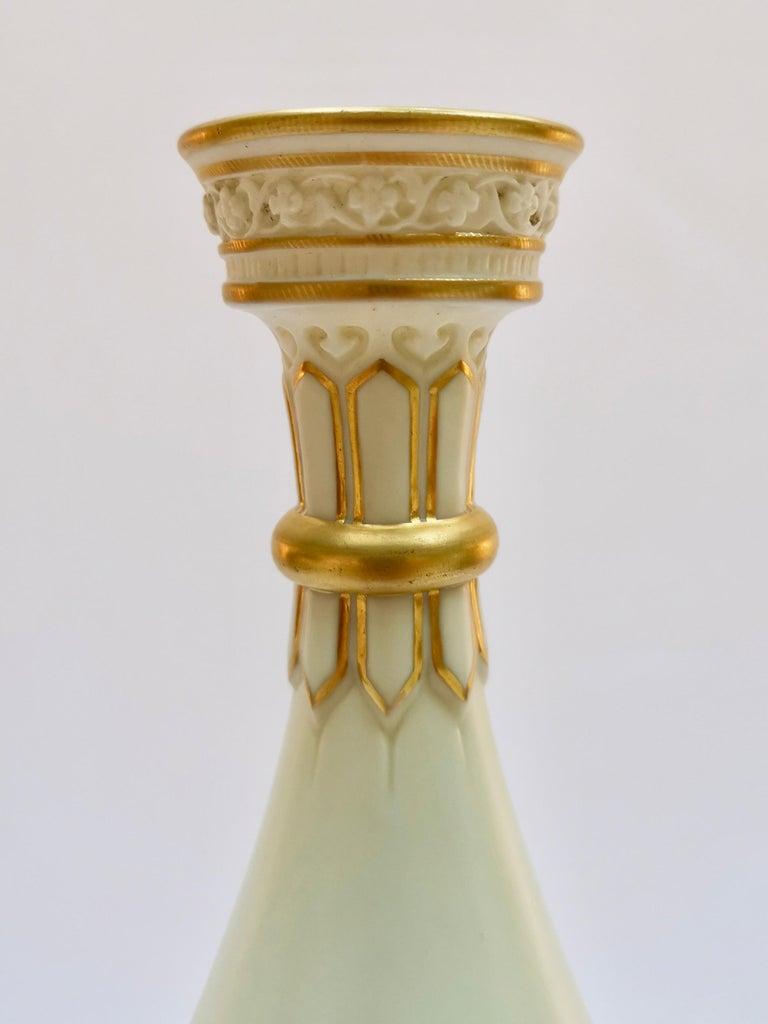 Royal Worcester Vase, Gilt Stork by Thomas Morton, Persian Shape, Victorian 1889 For Sale 6