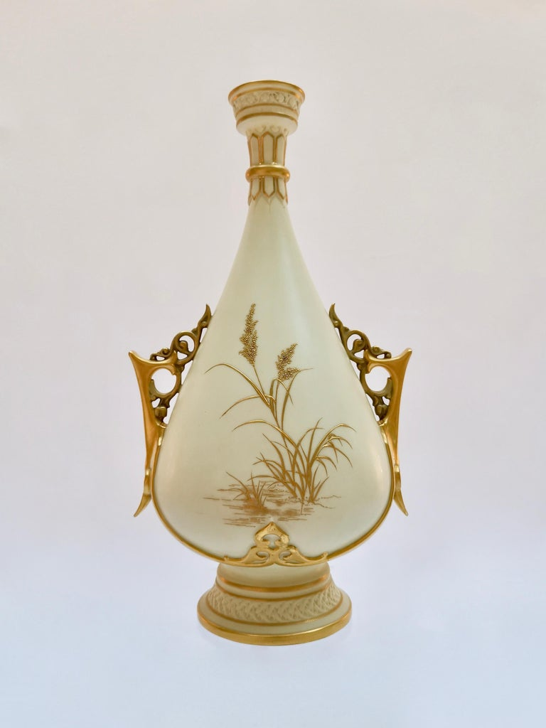 Late Victorian Royal Worcester Vase, Gilt Stork by Thomas Morton, Persian Shape, Victorian 1889 For Sale