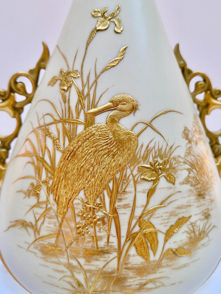 English Royal Worcester Vase, Gilt Stork by Thomas Morton, Persian Shape, Victorian 1889 For Sale