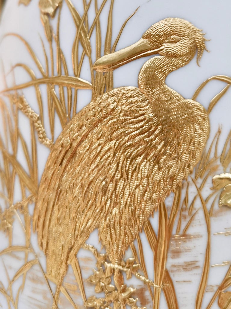 Royal Worcester Vase, Gilt Stork by Thomas Morton, Persian Shape, Victorian 1889 In Good Condition For Sale In London, GB