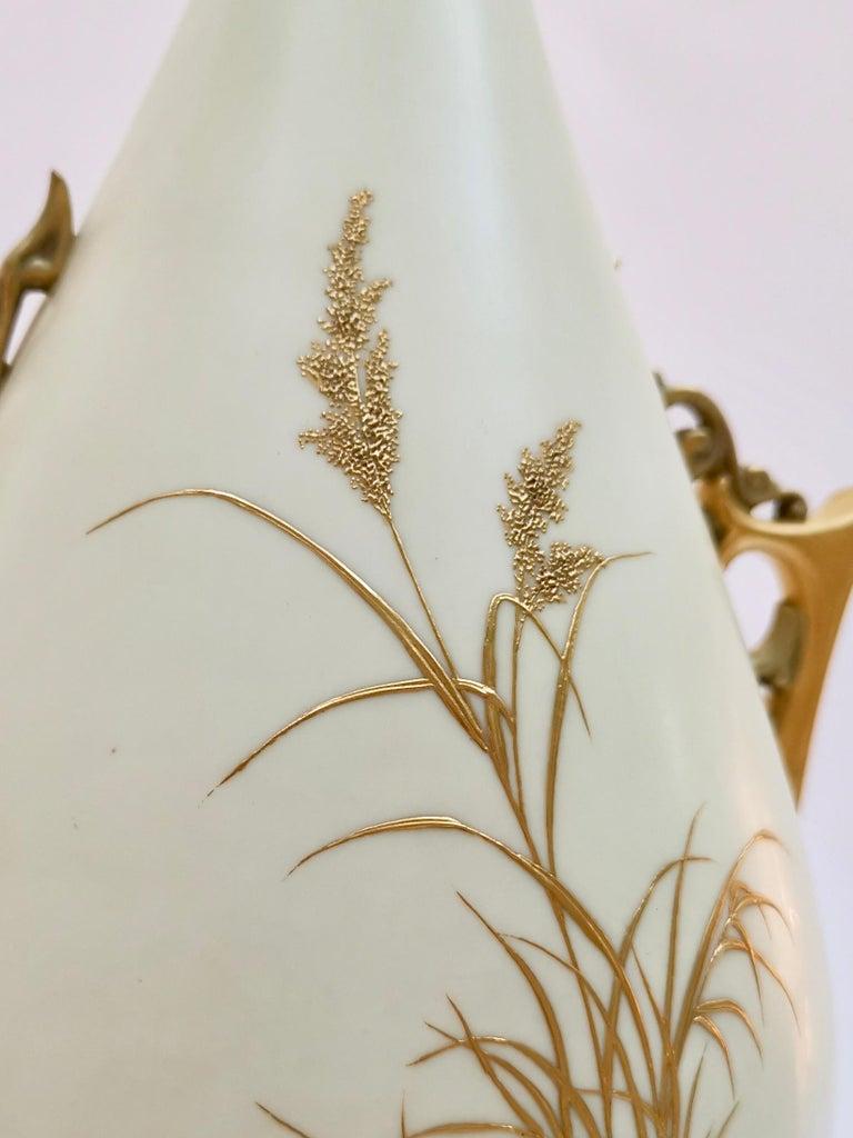 Royal Worcester Vase, Gilt Stork by Thomas Morton, Persian Shape, Victorian 1889 For Sale 2