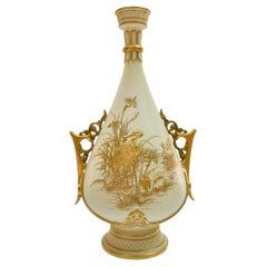 Royal Worcester Vase, Gilt Stork by Thomas Morton, Persian Shape, Victorian 1889