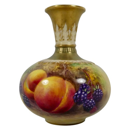 Royal Worcester Vase, Fruit Painted by T.Lockyer, Dated, 1933