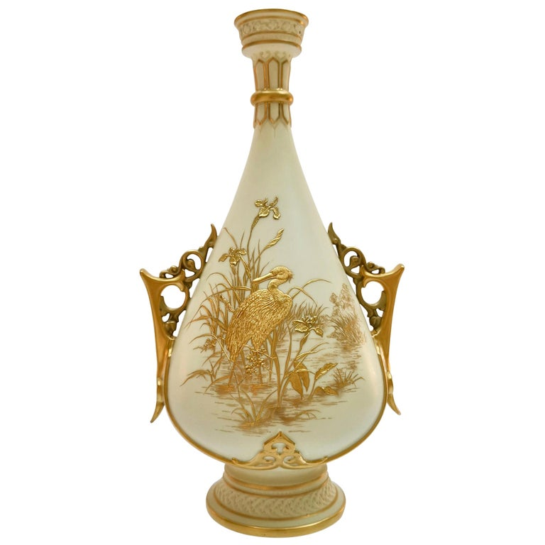 Royal Worcester Vase, Gilt Stork by Thomas Morton, Persian Shape, Victorian 1889 For Sale
